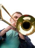 Het spelen van een trombone stock afbeelding
