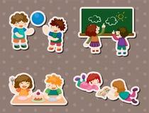 Het spelen van het jonge geitje stickers Stock Foto