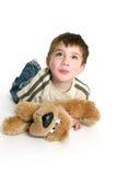 Het spelen van het kind met gevuld stuk speelgoed Royalty-vrije Stock Afbeelding