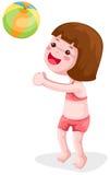 Het spelen van het meisje bal stock illustratie