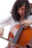 Het spelen van het meisje cello stock afbeeldingen
