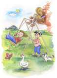 Het spelen van het meisje en van de jongen royalty-vrije illustratie