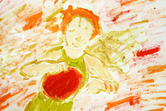 Het spelen van het meisje (geschilderde) tamboerijn Royalty-vrije Stock Foto's