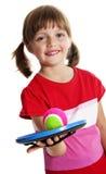 Het spelen van het meisje met een bal Stock Afbeeldingen