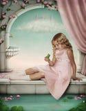 Het spelen van het meisje met een kikker-prins. vector illustratie