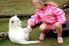 Het spelen van het meisje met leeuwwelp Royalty-vrije Stock Foto's