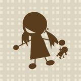 Het spelen van het meisje met pop Stock Afbeeldingen