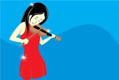 Het spelen van het meisje viool Stock Foto