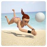 Het spelen van het meisje in volleyball Royalty-vrije Stock Fotografie