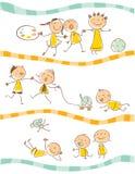 Het spelen van jonge geitjes royalty-vrije illustratie
