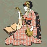 Het spelen van klassieke Japanse de vrouwen oude stijl van Geisha oude Japan van tekening Mooi Japans geishameisje royalty-vrije illustratie