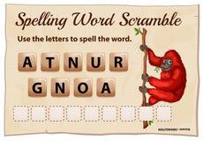 Het spellingswoord gooit spelmalplaatje met orangoetan door elkaar Stock Fotografie