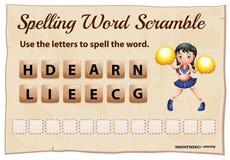 Het spellingswoord gooit voor woord het cheerleading door elkaar Stock Fotografie