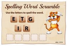 Het spellingswoord gooit voor woordtijger door elkaar Stock Afbeelding