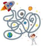 Het spelmalplaatje van het astronautenlabyrint stock illustratie