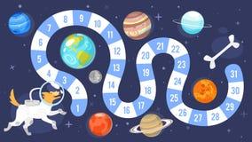 Het spelmalplaatje van de jonge geitjes ruimteraad stock illustratie