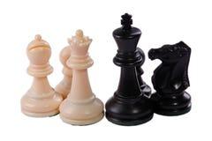 Het spelstukken van het schaak stock afbeelding