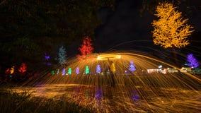Het spinnen van de brand van staalwol Royalty-vrije Stock Afbeeldingen
