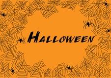 Het spinneweb en de spinnen van Halloween voor groetkaart Royalty-vrije Stock Afbeelding
