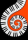 Het spiraalvormig verdraaide close-up van pianosleutels royalty-vrije illustratie