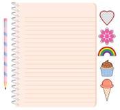 Het Spiraalvormige Notitieboekje van het meisje met Potlood en Stickers Stock Foto