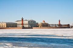 Het spit van eiland Vasilyevsky Stock Foto's