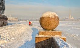 Het Spit van Vasilievsky-eiland bij een wazige ijzige de winterdag Stock Fotografie