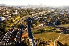Het spitsuur van de ochtend van hierboven in Brisbane Stock Afbeelding