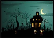 Het spookhuis van Halloween Stock Afbeeldingen