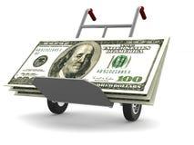 Het Spoor van de hand met dollars Royalty-vrije Stock Foto's