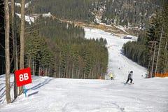 Het spoor van de ski van Bukovel toevlucht, Carpathias, de Oekraïne Stock Foto's