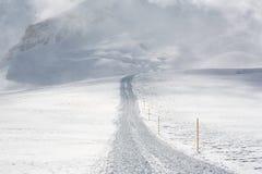 Het spoor van de sneeuw na sneeuw groomer Stock Afbeelding