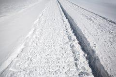 Het spoor van de sneeuw na sneeuw groomer Royalty-vrije Stock Afbeelding
