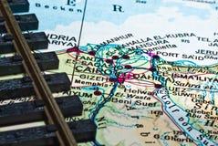 Het spoor van de spoorweg en de kaart van Egypte Royalty-vrije Stock Foto