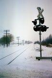 Het spoor van de spoorweg in Sneeuw Royalty-vrije Stock Foto