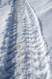 Het spoor van de tractor bij sneeuw Stock Fotografie