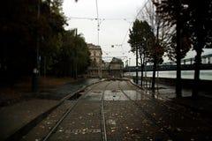 Het spoor van de tram in Boedapest Hongarije stock afbeelding