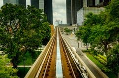 Het spoor van de treinspoorweg tussen bomen Royalty-vrije Stock Afbeelding