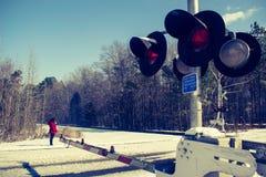 Het spoor van de de winterspoorweg stock foto's