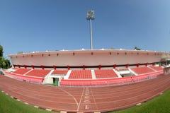 Het Spoor van het ras in het Stadion van de Voetbal Stock Afbeelding