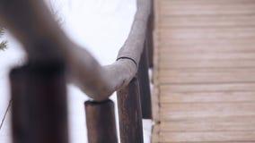 Het spoor wordt gemaakt van hout in het bos stock footage