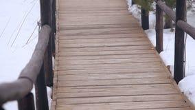 Het spoor wordt gemaakt van hout in het bos stock video