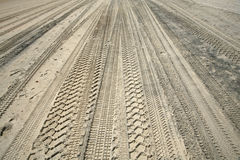 Het spoorauto's van het zand Stock Foto