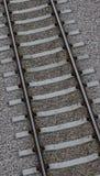 Het spoorclose-up van de trein Stock Afbeeldingen