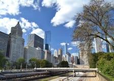 Het spoorlijnen van Chicago Stock Foto's