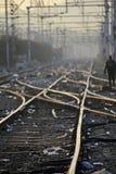 Het spoorwegspoor die, Reeks Punten op het Spoor van de Spoorwegtrein samenvoegen Stock Afbeelding