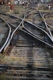 Het spoorwegspoor die, Reeks Punten op het Spoor van de Spoorwegtrein samenvoegen Stock Fotografie