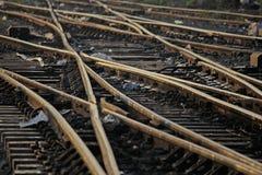 Het spoorwegspoor die, Reeks Punten op het Spoor van de Spoorwegtrein samenvoegen Royalty-vrije Stock Foto