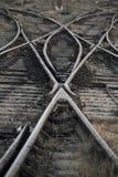 Het spoorwegspoor die, Reeks Punten op het Spoor van de Spoorwegtrein samenvoegen Royalty-vrije Stock Foto's