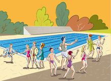 Het sportencentrum, een instructeur schreef een groep in stock illustratie